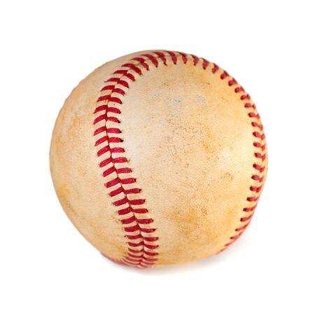 worn baseball isolated on white background, team sport. Object.
