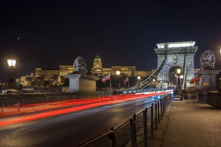 Szechenyi Chain Bridge on the Danube river at night. Budapest, Hungary. Travel.