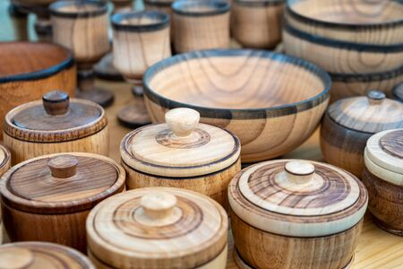 Wooden kitchenware and decorations sold on Easter market in Tbilisi. Travel.