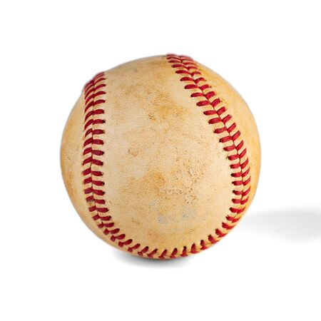 worn baseball isolated on white background, team sport. Object.