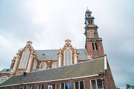 The bell tower of the Western Church, in Dutch Westerkerk in Amsterdam, Netherlands. Religion.