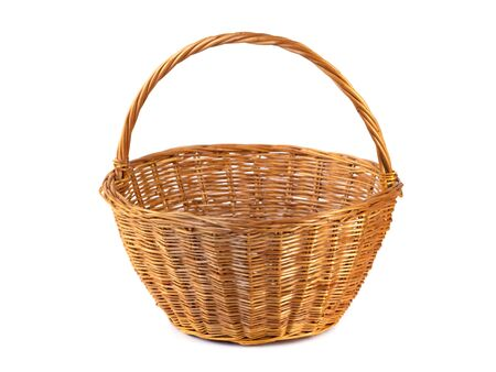 Empty wicker basket for fruits and vegetables, isolated on white. Object Zdjęcie Seryjne