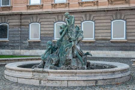 Fishing kids fountain on territory of Buda castle, Budapest Reklamní fotografie