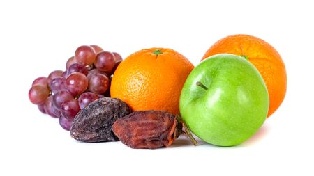 Apple, orange, grape and dry persimmon isolated on white background, fresh fruit