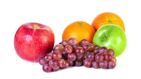 Apple, orange and grape isolated on white background, fresh fruit Stock Photo