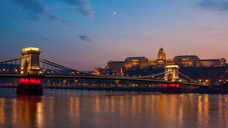 Szechenyi Chain Bridge on the Danube river at night. Budapest, Hungary. Travel.