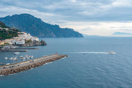 Amalfi cityscape on coast line of mediterranean sea, traveling in Italy