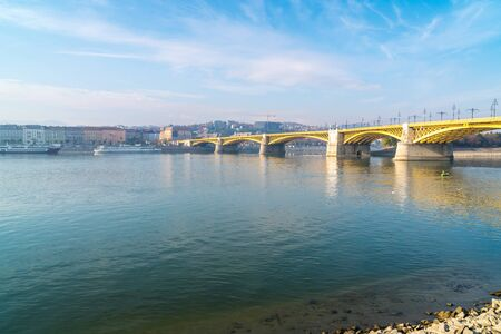 View of the Margaret Bridge in Budapest, Hungary, connecting Buda and Pest across the Danube river and linking Margaret Island. Stok Fotoğraf