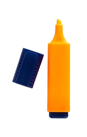 Orange highlighter isolated on a white background, object