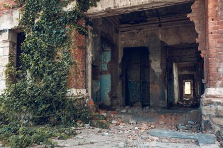 Abandoned red brick building in Poti, Republic of Georgia.