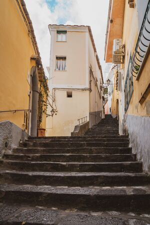 Narrow stairs and streets in the tourist village of Positano, Amalfi coast, travel to Italy