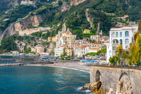 Amalfi, Italy - 1 November, 2019: Amalfi cityscape on coast of mediterranean sea, travel Editorial