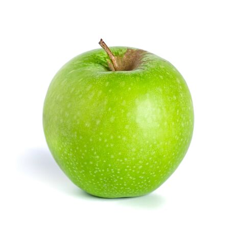 Green apple isolated on white background. Healthy food, fruit