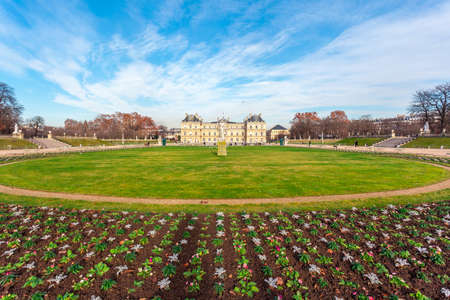Luxembourg Palace in Jardin du Luxembourg, park in Paris. Travel. Editorial