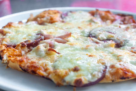 Homemade pizza with vegetables, salami and mayonnaise. Food Foto de archivo