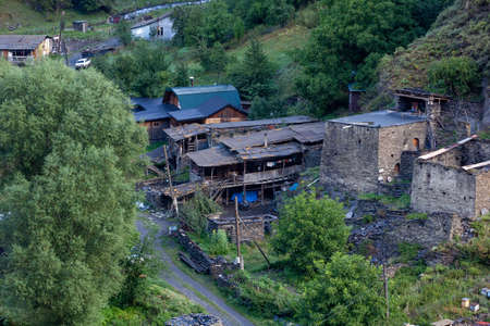 Old cabin in the mountains of Upper Khevsureti, Shatili, Georgia