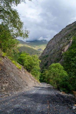 Dirt road in the mountains of Upper Khevsureti, Georgia. Caucasus