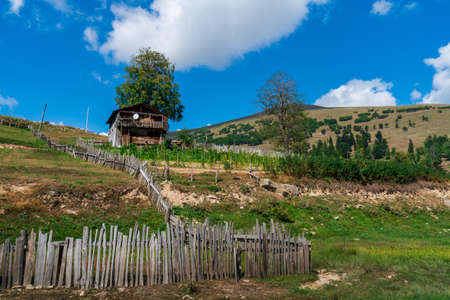 Village in mountains of Ajara, abandoned wooden houses
