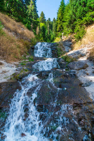Waterfall in Goderdzi pass, Beautiful view of mountain landscape Stok Fotoğraf