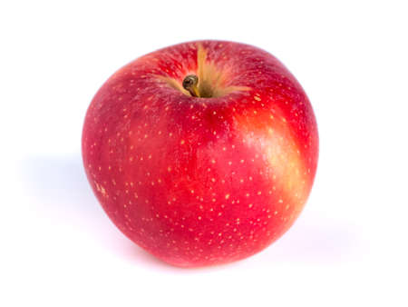 Fresh red apple isolated on white background, healthy food Banco de Imagens