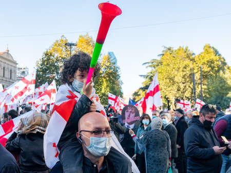 Tbilisi, Georgia - 09 November, 2020: demonstration of protest against Bidzina Ivanishzhili on Rustaveli Avenue, Tbilisi