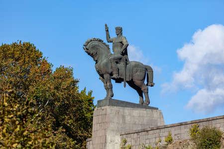 Tbilisi, Georgia -7 November, 2020: Statue of King Vakhtang Gorgasali in Tbilisi, Georgia Sajtókép