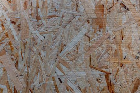 close up pressed wooden panel background - OSB wood Imagens