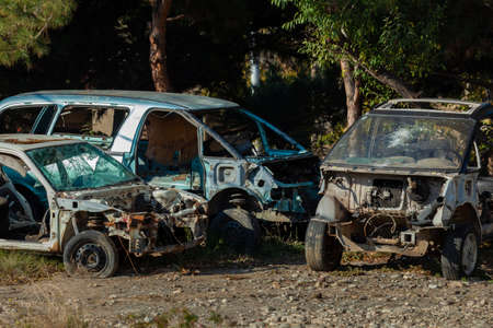 Dump of cars involved in an accident, transportation