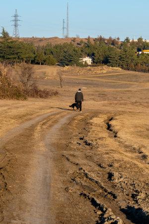 Dirt road for cars, tread tracks. Georgia. 版權商用圖片