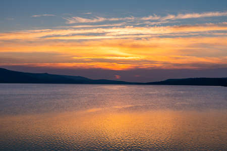Amazing view of sunrise at Tbilisi sea, landscape 版權商用圖片