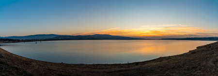 Amazing view of sunrise at Tbilisi sea, landscape. Panoramic view