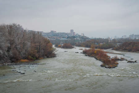 Kura river on the outskirts of the city of tbilisi, cloudy day