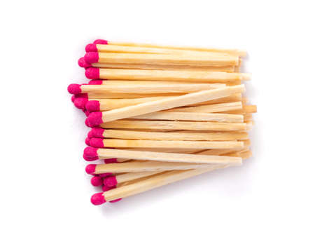 Wooden matches with sulfur for lighting a fire isolated on a white background 版權商用圖片