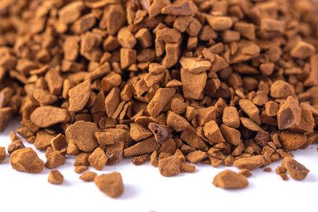 Closeup macro of instand freeze-dried coffee, granules