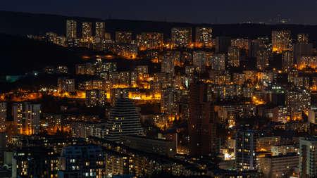 Architecture On Background Of Urban Night Cityscape, Tbilisi Reklamní fotografie