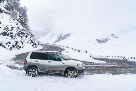 Road to Gudauri resort in winter. Travel