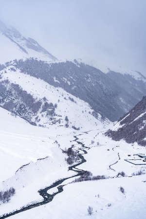Snowy winter mountains in Georgia. Caucasus Mountains