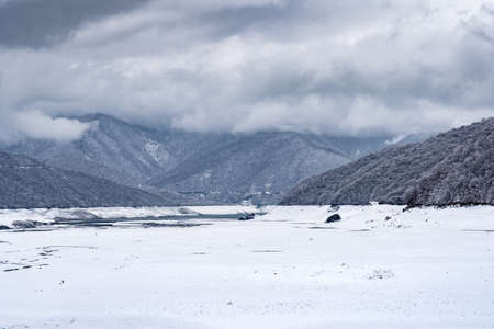 View to Zhinvali reservoir in winter, Georgia Reklamní fotografie