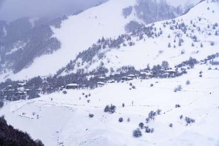 Village Zemo Mleta with covered snow, Georgia Reklamní fotografie