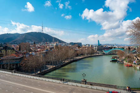 Tbilisi, Georgia - 13 March, 2021: Beautifull view on the Tbilisi from Metekhi churche, travel