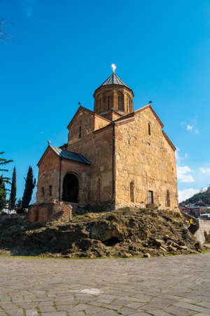 Metekhi Church old orthodox church in Tbilisi. Travel, Georgia
