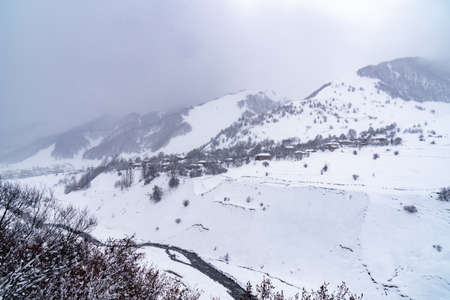 Village Zemo Mleta with covered snow, beautifull landscape, Georgia