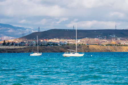 Tbilisi sea and boats with deflated sails, nature