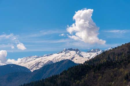 Beautiful views of the Svaneti mountains, the high-mountainous region of Georgia. Landscape