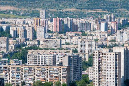 Residential area of Tbilisi, multi-storey buildings in Gldani and Mukhiani. Georgia