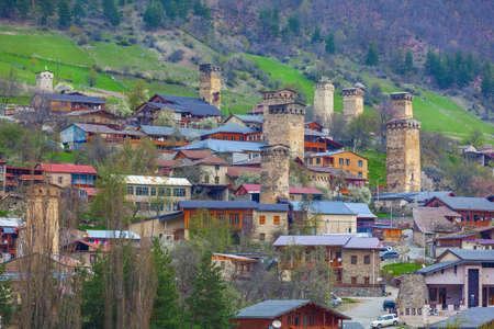 Towers of Mestia village in Svaneti area Caucasus mountains in Georgia. Travel