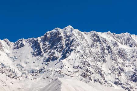 Shkhara Mountain inear Ushguli village in Svaneti region, Georgia. It is the highest peak in Georgia