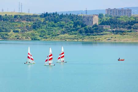 Tbilisi sea and boats with sails, nature. Georgia