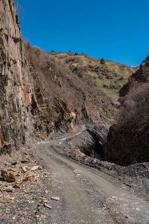 Dangerous rocky road to Ushguli village, Svaneti, Georgia. Travel