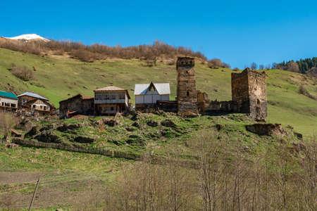 Beautiful old village Davberi with its Svan Towers. Great place to travel. Georgia. Landscape Standard-Bild